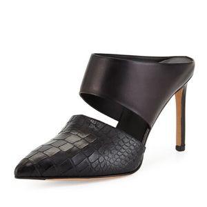 Vince Corrine Leather Embossed Slip on Mule Heel